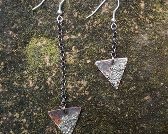 Hammered Copper & Pyrite Triangle Earrings // Crushed Pyrite Geometric Earrings // Asymmetrical Hammered Copper Metal Triangle Earrings