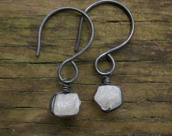 Quartz & Copper Ear Weights // Rustic Copper Gemstone Ear Weights // Gemstone Black Copper Heavy Earrings // Rustic Stretched Ear Earrings