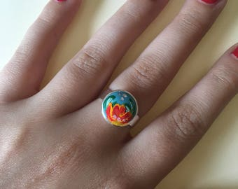 Floral Hand-painted Ring