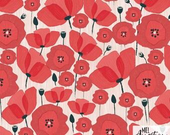 "Fabric, ""Poppies"" design, 100% cotton"