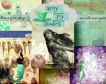 DIY Journal  Mermaid  Travel Journal  Junk Journal Vintage  Mini Album  ephemera pack  digital journal kits  printable junk journal