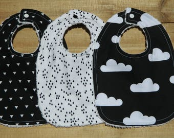 Baby Bibs Set Of 3 Black And White Clouds  Ready To Ship