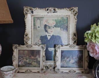 Set of 3 French Pictures in Ornate Frames, Boudoir Prints, Les Deux Comarades, Ballerina Pictures, Shabby Prints, Ballet Dancer Pictures