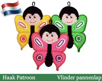 145NLY Haak patroon - Vlinder decoratie of Pannenlap - Amigurumi PDF file by Zabelina Etsy