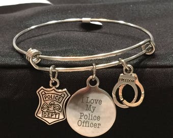 I love my Police Officer Adjustable Bangle Style Bracelet with 3 Charms