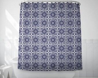 Blue Tile Curtain, Bathroom Art, Spanish Tiles, Geometric Print, Long Shower Curtain, Blue Shower Curtain, Bath Set