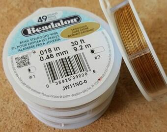 "Beadalon 49 Strand .018"" Satin Gold Beading Wire - 30ft"