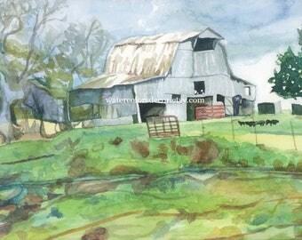 Tobacco Barn Watercolor Print. Barn painting. Watercolor landscape. Watercolor art. Country decor. Barn picture. Barn wall art. Barn artwork