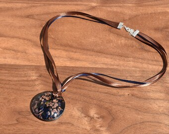 SALE! Glass Brown Round Pendant and Satin Ribbon Cord Necklace