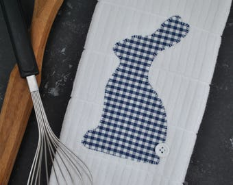 Easter Kitchen Towel | Bunny Kitchen Towel | Bunny Tea Towel | Easter Kitchen Decor | Appliqué Easter Towel | Gingham Bunny Towel