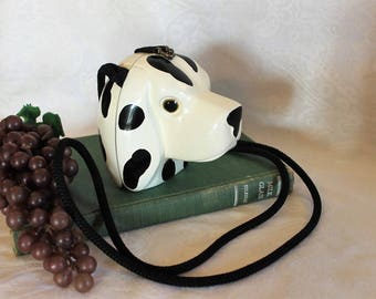 Timmy Woods Beverly Hills Dalmatian Head Purse handmade in the Philippines - Carved Wood