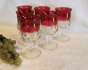 Set of 6 Indiana Glass Ruby Flashed Water Goblets - Kings Crown Thumbprint Pattern