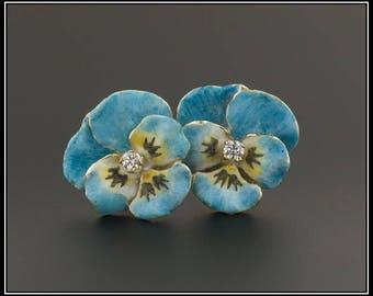 Vintage Pansy Earrings | 14k Gold & Enamel Pansy Earrings | 14k Gold Flower Earrings | 14k Gold Earrings |