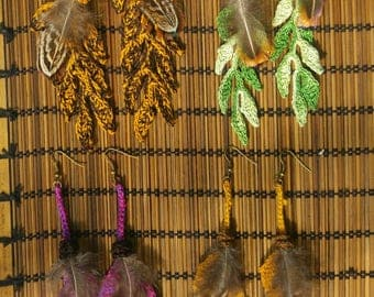 Earrings leaves hook and feathers