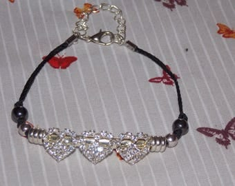 triple hearts adorned with Rhinestones bracelet