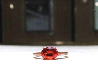 1.50 Carat Red Orange Fire Topaz Designer Style Ring in 14K Rose Gold