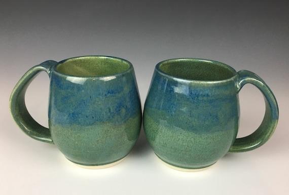 Green and blue Pottery Mug, Handmade coffee mug, Pottery mug, 14oz, coffee cup, large mug, roomy handle