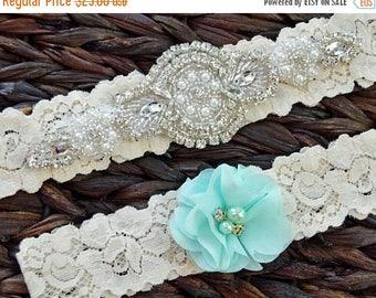 ON SALE Bridal Garter,Mint Rustic Garter Set, Mint Wedding Garter Set, Rustic Wedding, Lace Bridal Garter, Rustic Wedding Garter Set-Style 1