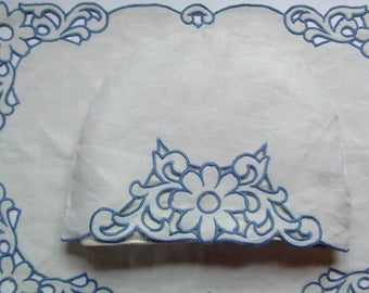 vintage embroidered tea cosie large tray cloths blue stitch pure linen cut work padded inner tea cosie