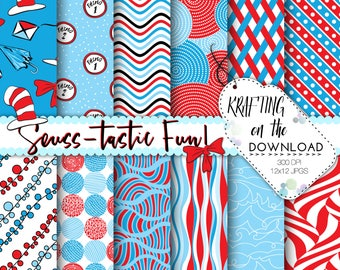 dr seuss inspired paper pack seuss digital paper red blue teal paper pack seuss digital papers seuss scrapbooking dr seuss background
