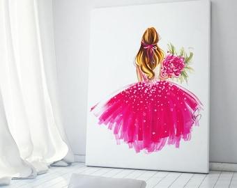 Nursery painting, Girls Room Decor, Nursery art, Fashion poster, Fashion illustration, Fashion wall art, Girly poster, Nursery wall art