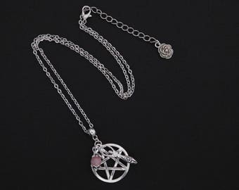 Pagan Wicca Rose Quartz Pentagram Goddess Necklace Pendant