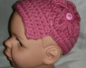 Light Raspberry Crochet Infant/Toddler Combination 1920's Cloche/Beanie Hat With Flower 18mth-5T