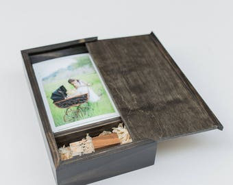 SALE ITEM- 25ct Photo Usb Box with a Sliding Lid (holds 25 photos)