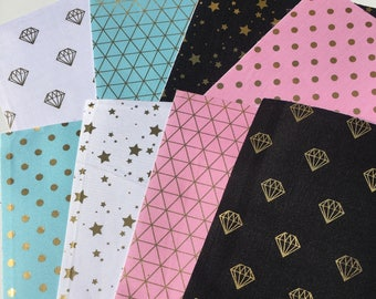 Set of 8 self adhesive fabric sticker sheets A5 (ST09)