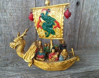 Vintage Celluloid 7 Immortals on Dragon Treasure Ship , made in Japan