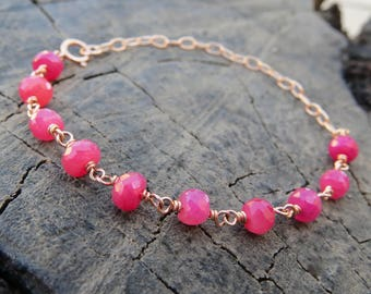 GENUINE Ruby bracelet, red ruby bracelet, beaded ruby bracelet, Rose gold bracelet, REAL ruby bracelet gemstone bracelet december birthstone