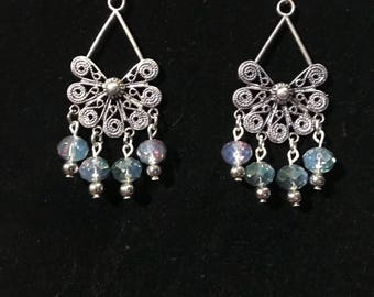 Chandelier Earrings with Crystal Beads