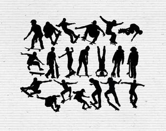 Skateboarding Silhouette, Printable Clipart for Scrapbooking and Cardmaking with SVG cut file and Editable EPS