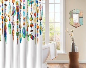 Native American Tribal Feathers Indian Spiritual Icon Decorative Shower Curtain with Rings