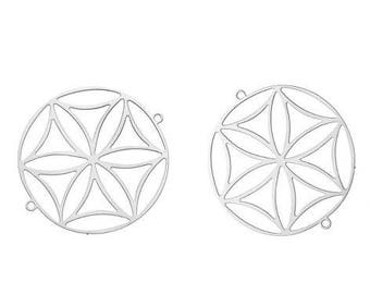 2 charms filigree flower of life (5) silver-plated 33x30mm