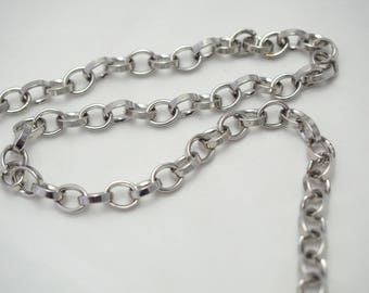 Silver Oval links chain fancy metal thick 8x7mm * 50cm