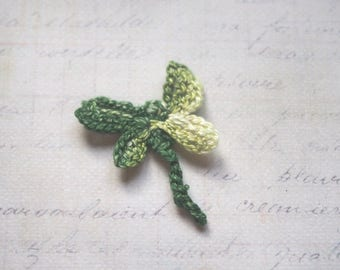 Shades of green crochet Dragonfly - applique for sew 4x3cm