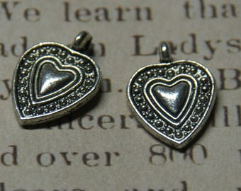 3 charms silver dotted heart 19 x 13, 7mm