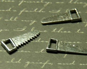 3 charms saw wood silver-plated 9x24mm