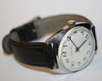 Vintage Raketa Watch Stainless Steel Silver Black Leather Strap Made in USSR