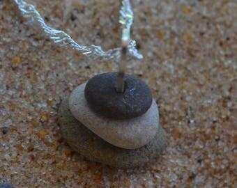 Cairn Lake Michigan stone stack spiritual organic sterling silver necklace