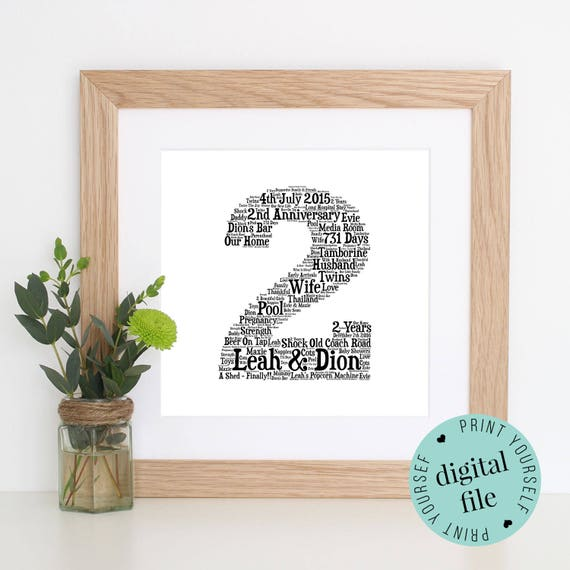 2nd Wedding Anniversary Gifts Uk: 2nd ANNIVERSARY GIFT Word Art Cotton Anniversary