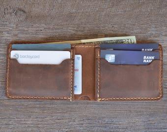 Personalized Bifold Leather Wallet, Men's Wallet, Minimalist Leather Wallet, Slim Leather Wallet, Distressed Leather Wallet, Groomsmen Gifts