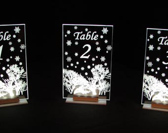 Winter Table Number --Snowflakes -  Glow - Illuminated  - engraved acrylic