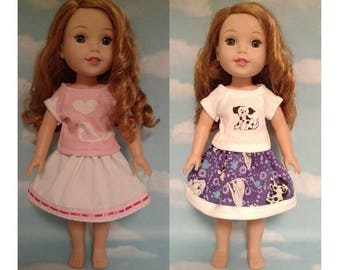 Skirt & Top Fits AG Wellie Wishers, Girl Doll clothes, American Made handmade 14.5 doll Clothing st-500wab