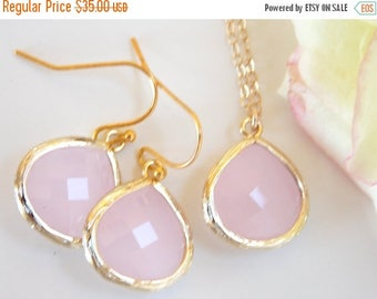 SALE Wedding Jewelry Set, Ice Pink Earrings and Necklace, Pink, Soft Pink, Light Pink, Gold Filled, Bridesmaid Jewelry, Pendant, Brides Gift
