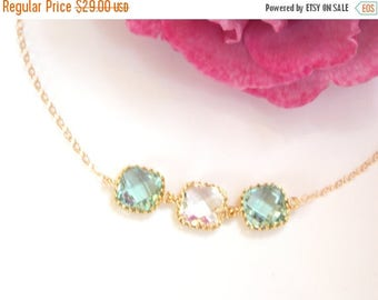 SALE Wedding Jewelry, Erinite Clear and Erinite Bracelet, Aqua and Crystal, Gold Filled, Bridesmaid Jewelry, Bridesmaid Bracelet,Bridesmaids