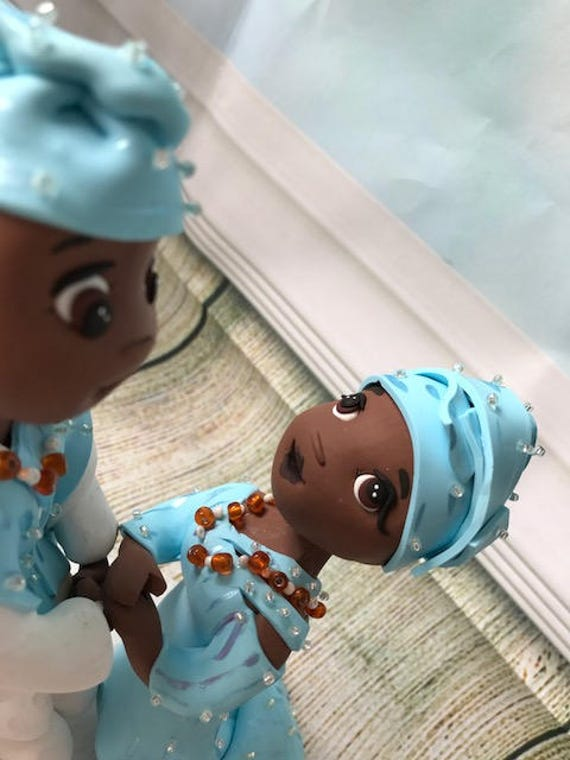 Fully personalised clay Wedding Cake Topper highly detailed and fully sculpted African/Nigerian- Keepsake - Bespoke Premium Service