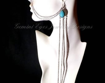 Turquoise Silver Bead Drop Ear to Nose Chain Ethnic Jewelry Face Jewelry Aqua Nose Chain Bohemian Jewelry Coachella Festival Jewelry