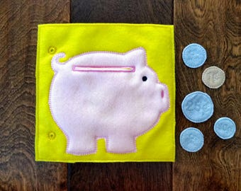 Piggy Bank Custom Quiet Book Page - Build a Personalized Busy Book Quiet Book Activity Book Busy Bag for Toddler Preschooler Gift